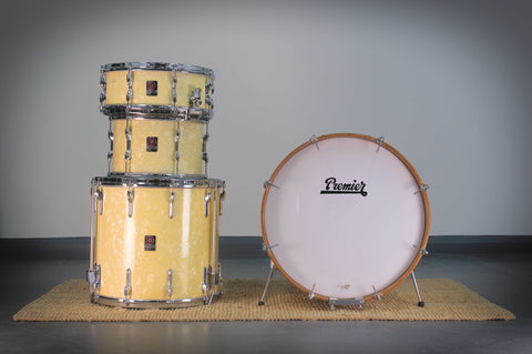 Premier 1960's Vintage Drum Kit with Matching Royal Ace Snare Drum in White Marine Pearl - 20/12/16/14sd