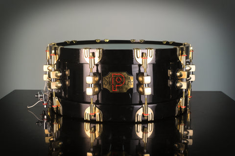 "PREMIER Signia 75th Anniversary 14"" X 5.5"" Snare Drum in Ebony Lacquer with 18K GOLD HARDWARE"