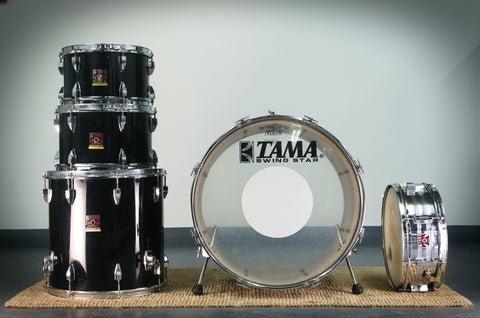 "Tama Red Badge Swingstar 501 Series Drum Kit in Jet Black - 22""/12""/13""/16"" with 14"" Snare - 1976"