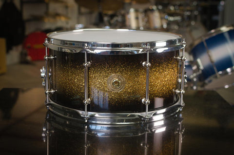 "Vintage Soul 14x6.5"" 'Radio King' Snare Drum in Gold Black Sparkle Duco"