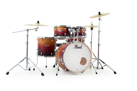 "Pearl Export Lacquer 5-Piece 20"" Fusion Drum Kit with Hardware and Cymbal Pack"