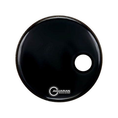 "Aquarian Regulator Black Bass Drum Head with Off-Set Hole 18"" - RSM18BK"
