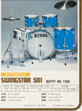 "Tama Red Badge Swingstar 501 Series Drum Kit in Metallic White - 22""/12""/13""/16"" - 1976"