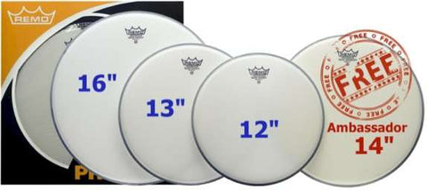 Remo Emperor Coated Propack Drum Heads - BE112/13/16+BA14 Free