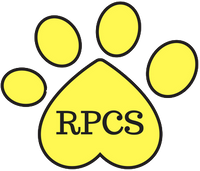 Rachel's Pet Care Services, LLC Yellow paw print logo