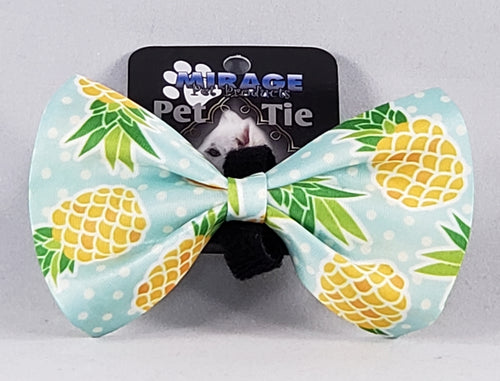 Mirage Pet Products Pineapple and Polka Dots Pet Bow Tie with Velcro
