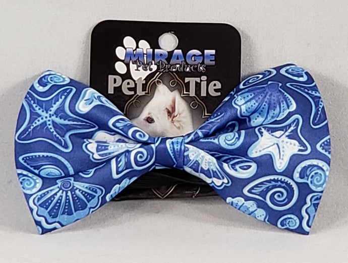 Mirage Pet Products Blue Seashells Pet Bow Tie with elastic band