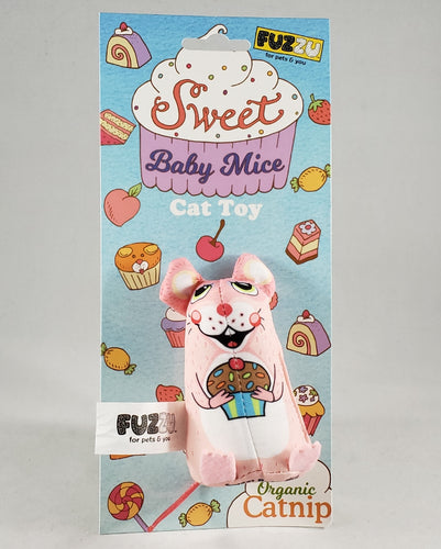 Fuzzu Sweet Baby Mice Cupcake Mouse Organic Catnip Cat Toy