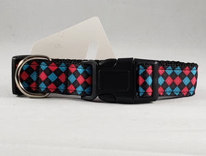 Mirage Pet Products pink and blue plaid nylon ribbon dog collars