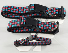 Load image into Gallery viewer, Mirage Pet Products pink and blue plaid nylon ribbon dog collars