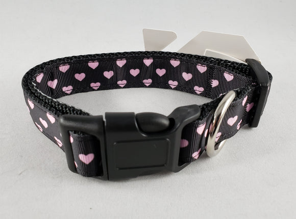 Mirage Pet Products - Pink & Black Dotty Hearts Nylon Dog Collar - Various Sizes - RPCS People & Pet Shop