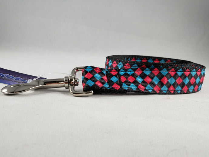 Mirage Pet Products - Pink and Blue Plaid Nylon Leash