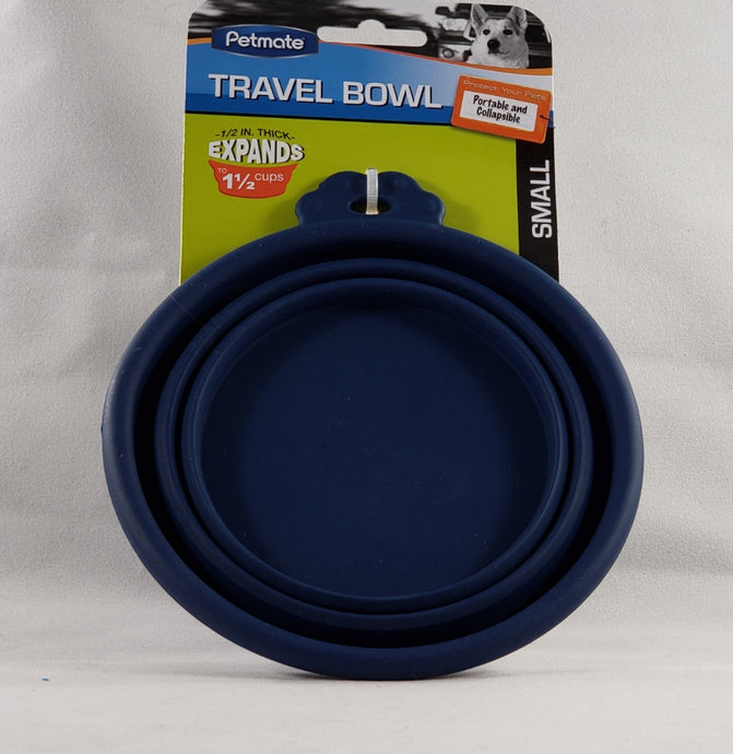 Petmate Travel Pet Bowl Blue silicone collapsible