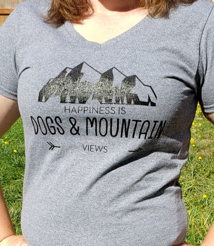 RPCS Original Women's Tee shirt Happiness is Dogs and Mountain Views Pacific Northwest
