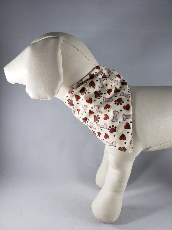 The Snazzy Pooch - Paws, Bones & Hearts Pet Bandana - Various Sizes - RPCS People & Pet Shop