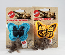 Load image into Gallery viewer, Spot Whiskins Felt Butterfly catnip cat toy with feather tail