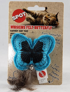 Spot Whiskins Felt Butterfly catnip cat toy with feather tail