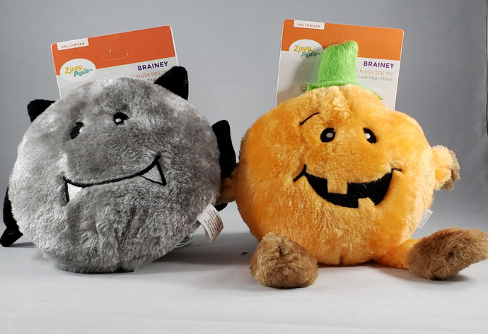 Zippy Paws Halloween Brainey Bat and Brainey Pumpkin Plush dog toys