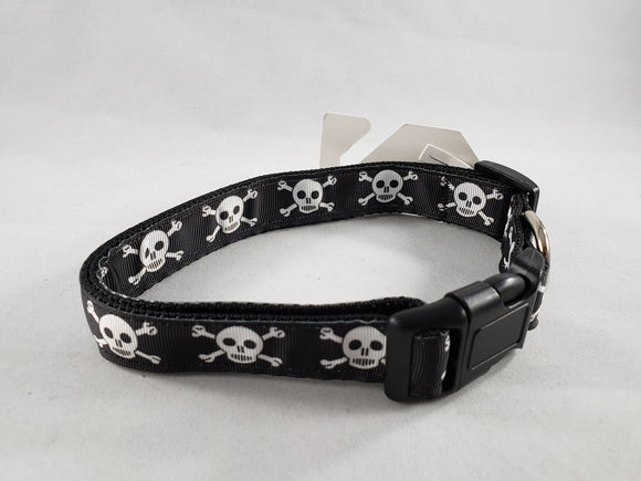 Mirage Pet Products - Skull and Crossbones Nylon Dog Collar - Various Sizes - RPCS People & Pet Shop