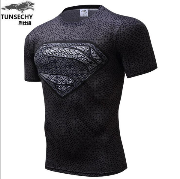 Marvel Super Heroes Avenger Batman T shirt Men Compression Armour Base Layer  Thermal Under Top