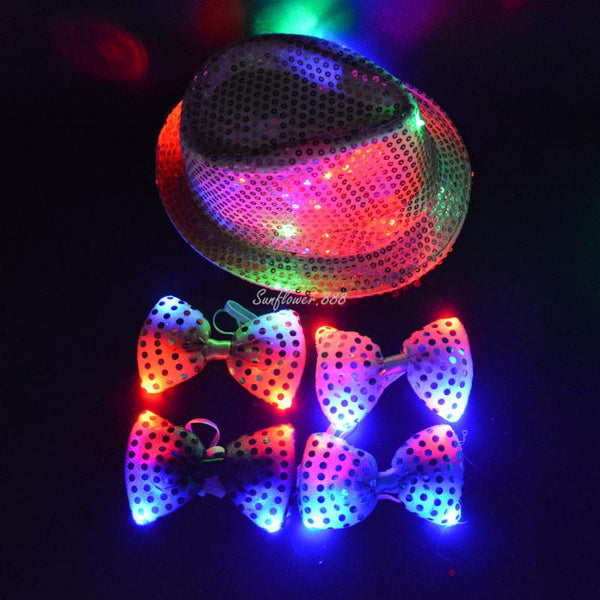 Woman Men Boy Girl Cool LED Flashing Sequins Jazz Hat Light Up Magic Hats CapsNeck Bow Tie Birthday Party Show Supplies
