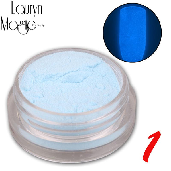 12 Colours Fashion Super Bright Glow in the Dark Nail Powder - LADSPAD.UK