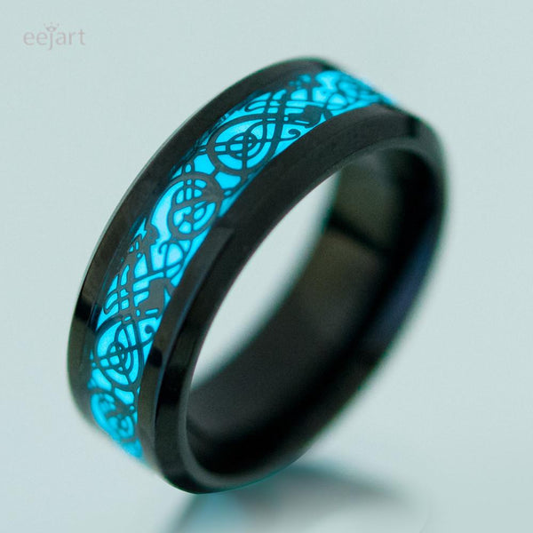 Stainless Steel Luminous Dragon Ring For Men Wome