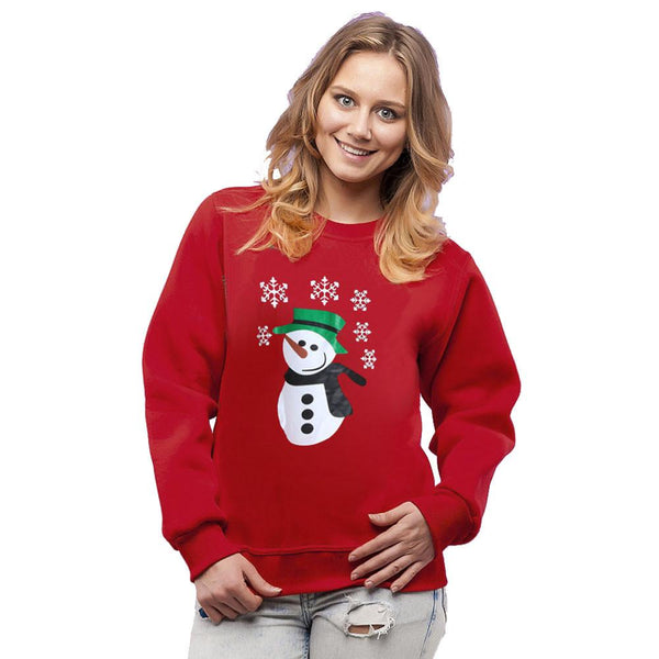 Women Long Sleeve Red Christmas Snowman Print Party Pullovers T-shirt Tops