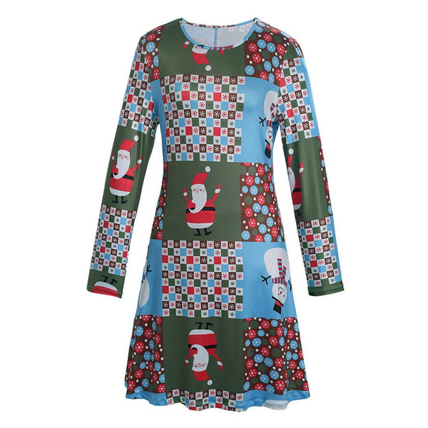 Women Xmas Print Swing Dress Ladies Christmas Long Sleeve Flared Party Dresses