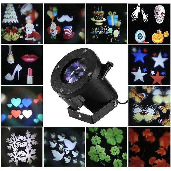 12 Patterns Christmas Laser Snowflake Projector Outdoor LED Waterproof DJ Disco Lights Home Garden Star Light Indoor Decoration - LADSPAD.UK