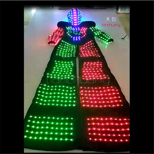 TC-157 Mens led costumes ballroom dance Programming RGB robot costumes led clothes dance full color stage wears luminous light