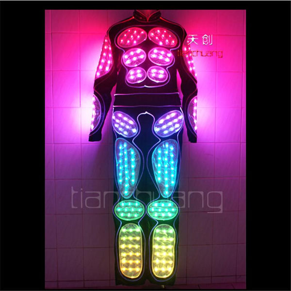 TC-62  Ballroom dancing luminous clothes Full color LED colorful light robot costumes led Bar dj mens wear Programmable suit led