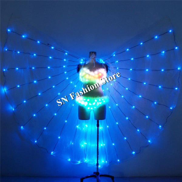 TC-186 Programmable full color led costumes luminous colorful light led wings sexy dance women bra ballroom singer wears clothes