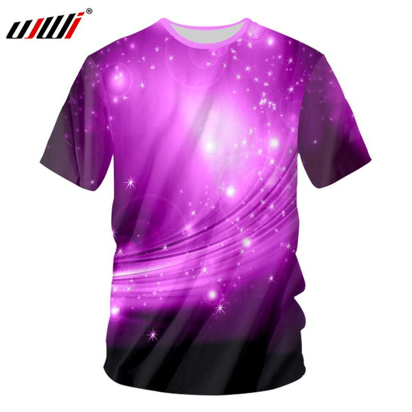 UJWI Sound Activated Led T Shirt Purple Light Up And Down Flashing Equalizer EL 3D T-Shirt Men For Rock Crewneck DJ Tops Tee