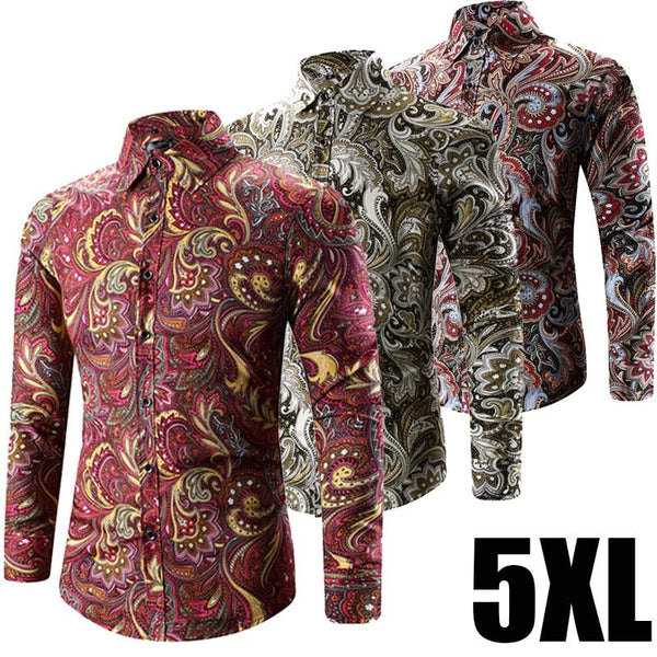 2018 Spring Fashion Retro Floral Print Male Boho Clothing Bohemian Shirt Mens Plus Size 5XL - LADSPAD.UK
