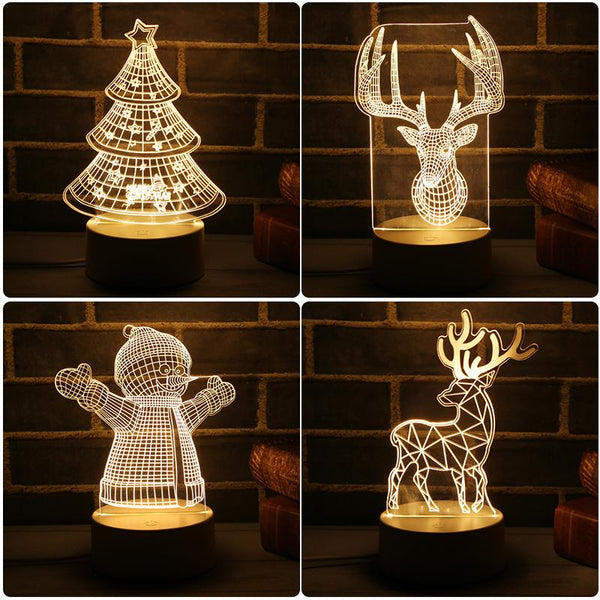 2018 New 3D LED Lamp Cute Christmas Tree Snowman LED Night Light Xmas Party Decoration Energy Saving Atmosphere Control Lamp - LADSPAD.UK