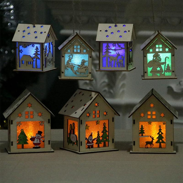 1PC Festival LED Light Wood House Christmas Tree Hanging Ornaments Holiday Nice Xmas Gift Wedding Decoration - LADSPAD.UK