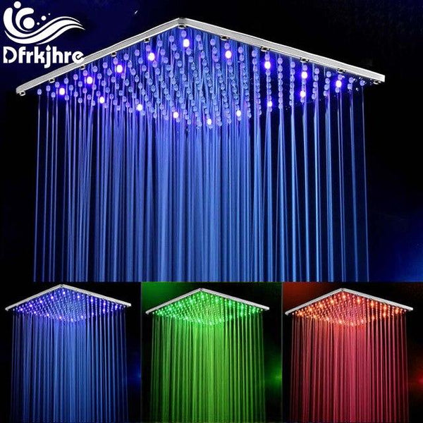 10 Inch 25cm * 25cm Water Powered Rain Chrome Led Shower Head Without Shower Arm.Bathroom 3 Colors Led Showerhead. Chuveiro Led. - LADSPAD.UK