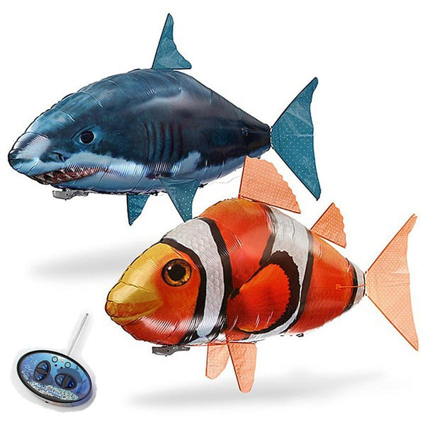 1PCS Remote Control Flying Air Shark Toy RC Helicopter Inflatable With Helium Fish plane Clown Fish Balloons Robot Gift For Kids - LADSPAD.UK