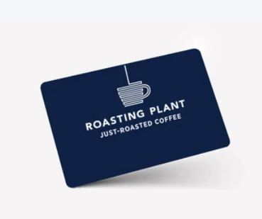 Roasting Plant e-gift card in blue with logo