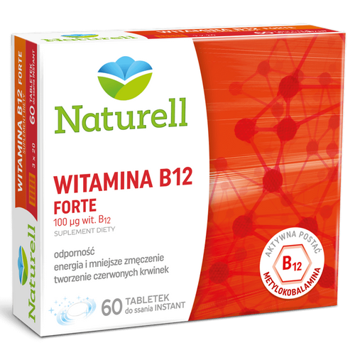 Naturell Witamina B12 Forte, suplement diety, 60 tabletek do ssania
