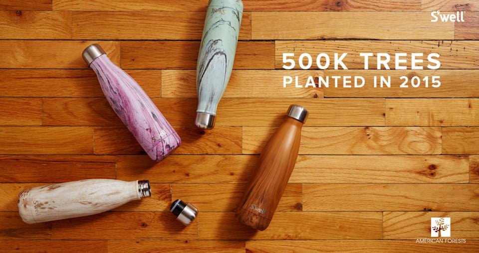 Reusable S'well Bottle stainless steel water bottle saves 500K trees