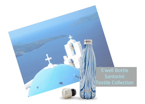 S'well Bottle Santorini Water Bottle 25oz inspired by textile patterns and the timeless blue roofs of the Greek sea