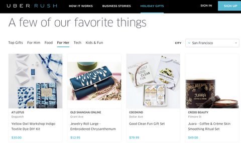 UberRUSH featured our indigo DIY crafts fabric art kit as their featured product holiday gifts