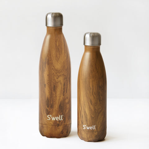 Teakwood Swell Water bottle available in medium and large 17 oz and 25 oz