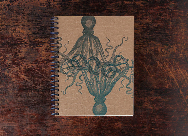 Bison Bookbinding and Letterpress Note Book: Octopus