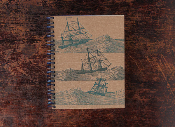 Bison Bookbinding and Letterpress Note Book: Ships