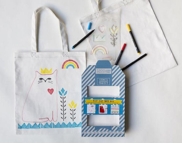 DIY Cat Love Stencil Tote Bag Kit by Yellow Owl Workshop