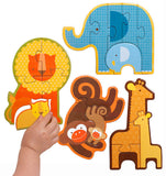 Safari Babies Animal Kingdom safe non-toxic Beginner Puzzle for Kids Toddlers by Petit Collage