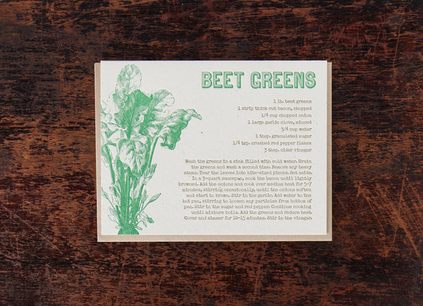 Bison Bookbinding & Letterpress Recipe: Beet Greens